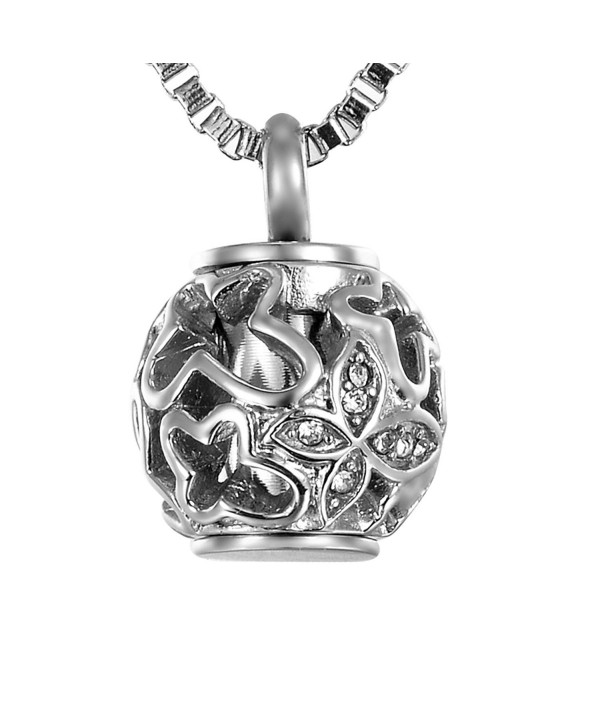 VALYRIA Cremation Jewelry Necklace Butterfly - Dull Silver Tone - CB12B1USVTL
