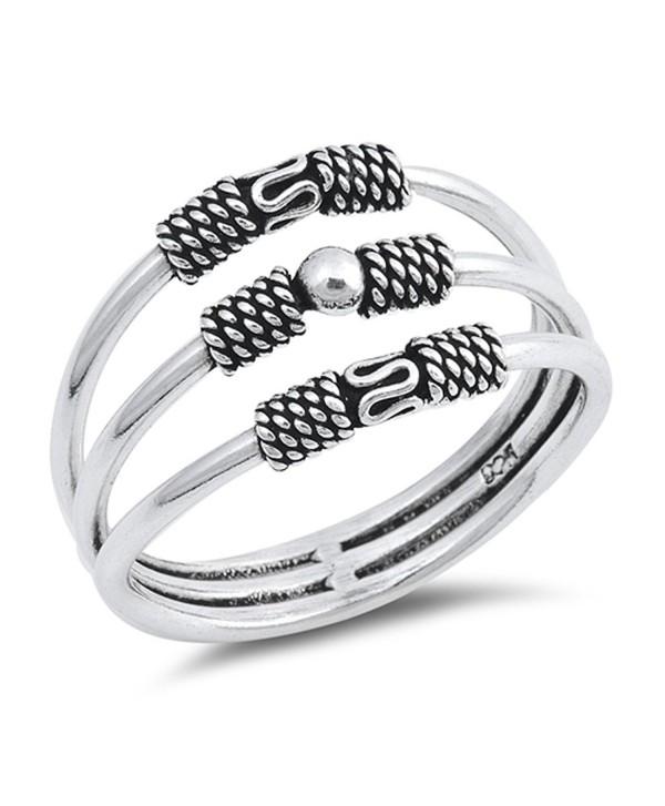 Bali Three Bar Bead Statement Ring New .925 Sterling Silver Band Sizes 5-10 - CY12O4DBAVC