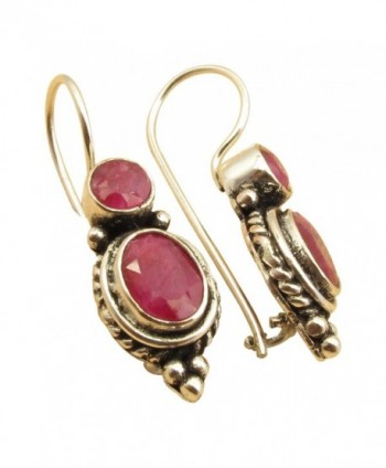 925 Sterling Silver Plated Red RUBY 2 Gemset July Birthstone Vintage Style Earrings 2.9 cm Brand New - CF184UIY7AW