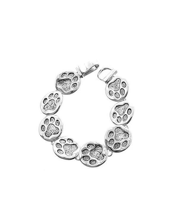 Antiqued Silver Linked Paw Print Bracelet - CJ11ZMPWJPJ
