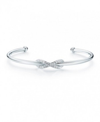 MYJS Infinity Cuff Bangle Bracelet Rhodium Plated with Swarovski Crystals for Women - C412MRRRWLZ