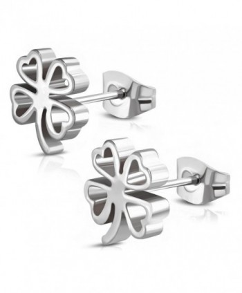 Stainless Steel Four Leaf Clover Shamrock Love Heart Cut-Out Stud Post Earrings - Silver - C1189ASAU2K