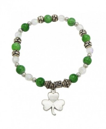 Rosemarie Collections Women's St Patrick's Day Irish Beaded Stretch Bracelet with Charm - C2187LTUMXD