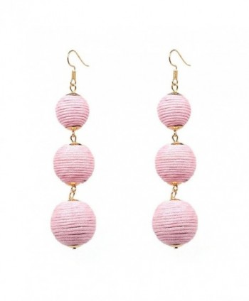 JG Thread Ball Dangle Earrings Women Soriee Drop Earrings Beaded Ball Ear Drop - Pink - CX1853GOMMS