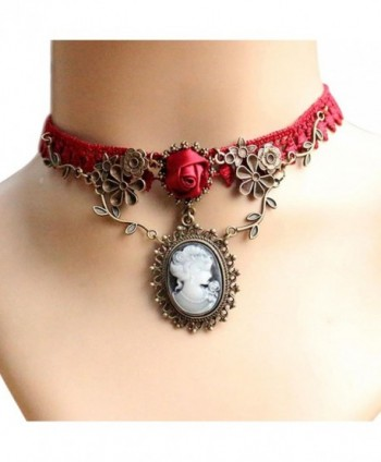 Womens Choker- FTXJ Novelty Cameo Red Rose Lace Fashion Pendant Necklace Jewelry - CC12N2KDVI3