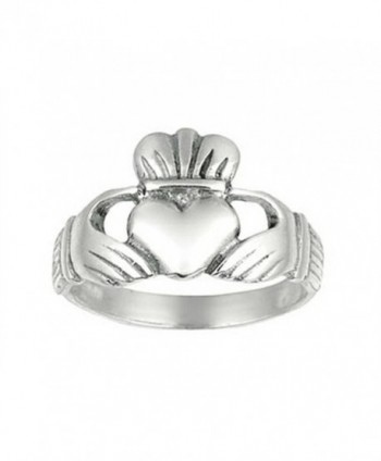 Finejewelers Sterling Silver Polished Hands Holding Heart Crown Top Ring Size 7 - CU11C6GYGH1