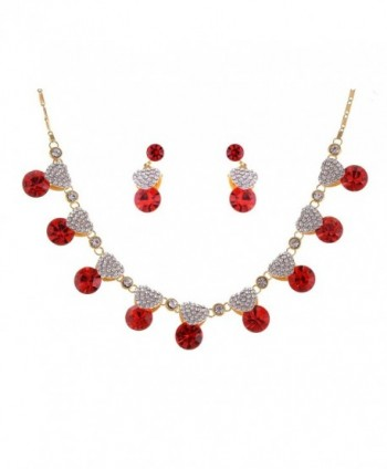 Alilang Valentine Ruby Red Love Heart Swarovski Crystal Rhinestones Necklace Earring Set - CW116N07X3F