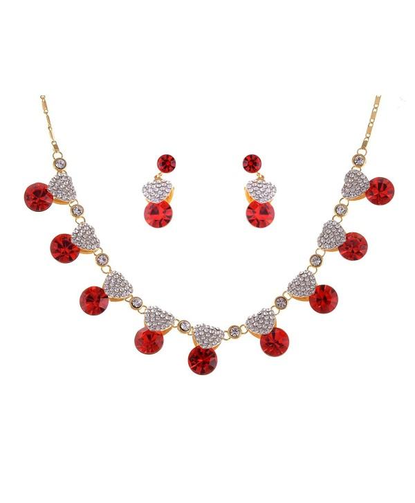 60955c96b Alilang Valentine Ruby Red Love Heart Swarovski Crystal Rhinestones Necklace  Earring Set - CW116N07X3F