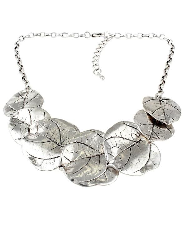 Leaf Bib Statement Necklace - Silver Tone - CW126BQRXXF