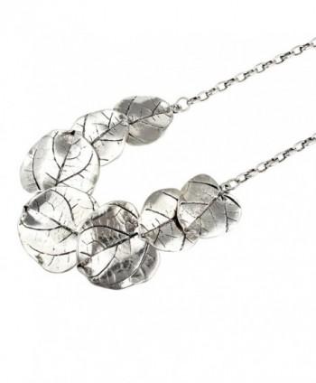 Silver Tone Leaf Statement Necklace