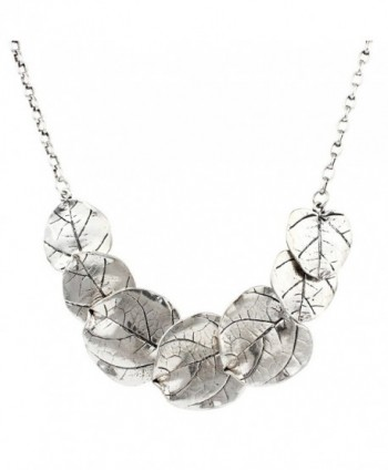Silver Tone Leaf Statement Necklace in Women's Collar Necklaces