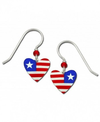 Sienna Sky Patriotic Red White and Blue Hand Painted Heart Petite Earrings with Gift Box Made in USA - CK182L8GESX