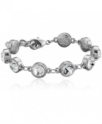 1928 Jewelry Silver-Tone Clear Crystal Adjustable Tennis Bracelet - CP11GHHIU1X