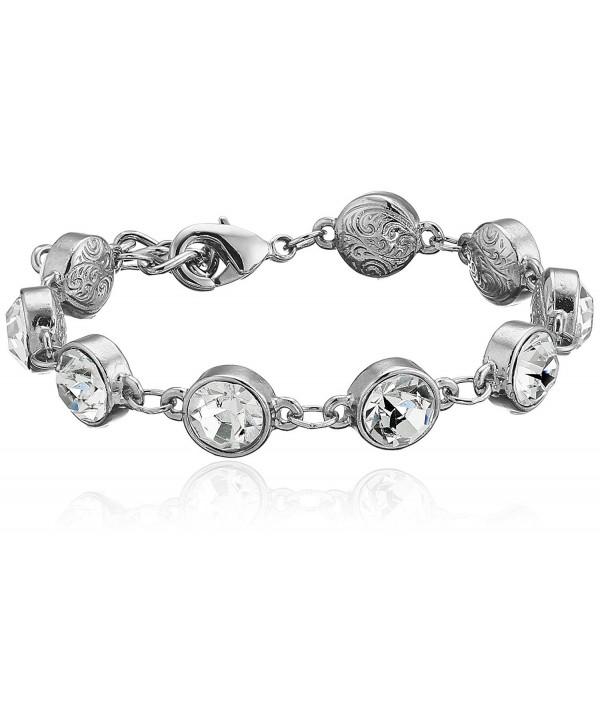 1928 Jewelry Silver-Tone Clear Crystal Adjustable Tennis Bracelet - CP11GHHIU1X