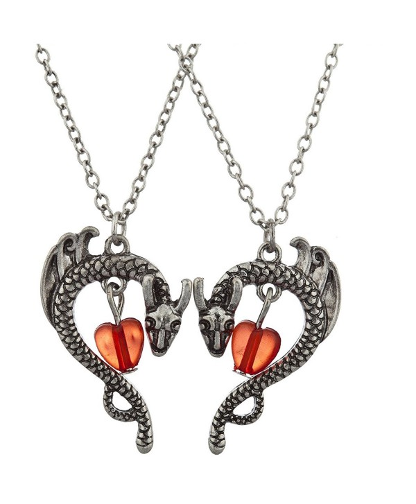 Lux Accessories Boho Burnished Silvertone Dragon and Stone BFF Necklace Set (2PCS) - C912MS38HUD